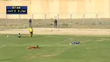 VIDEO: Footballers run for cover after hearing gun shots during Libya Cup final