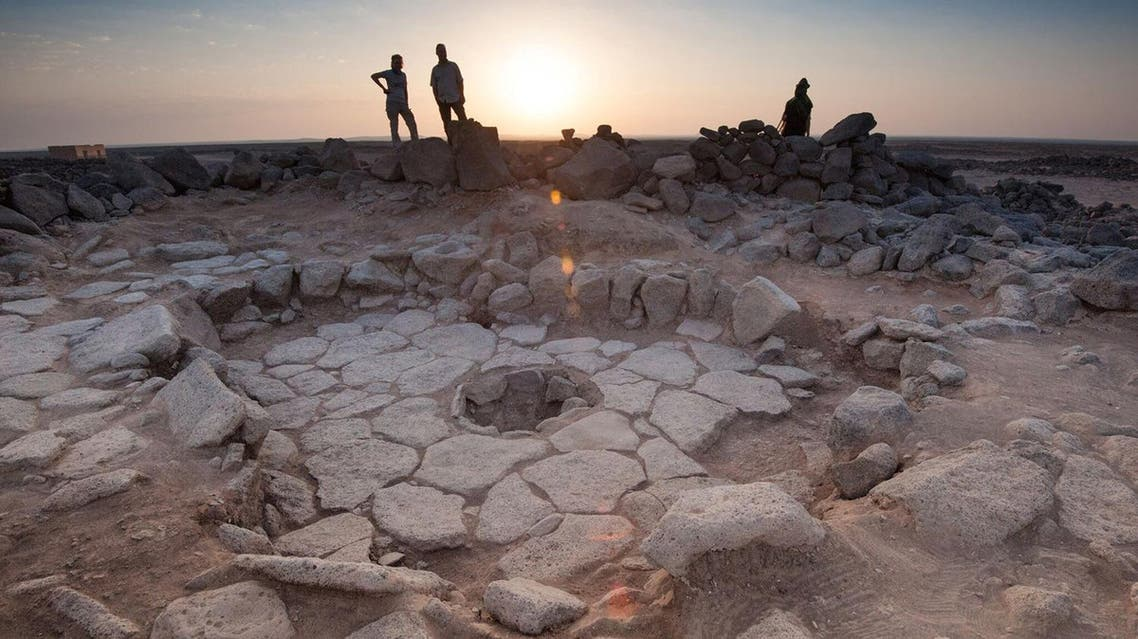 Stone structure at an archeological site containing a fireplace, seen in the middle, where charred remains of 14,500-year-old bread was found in the Black Desert. (Reuters)