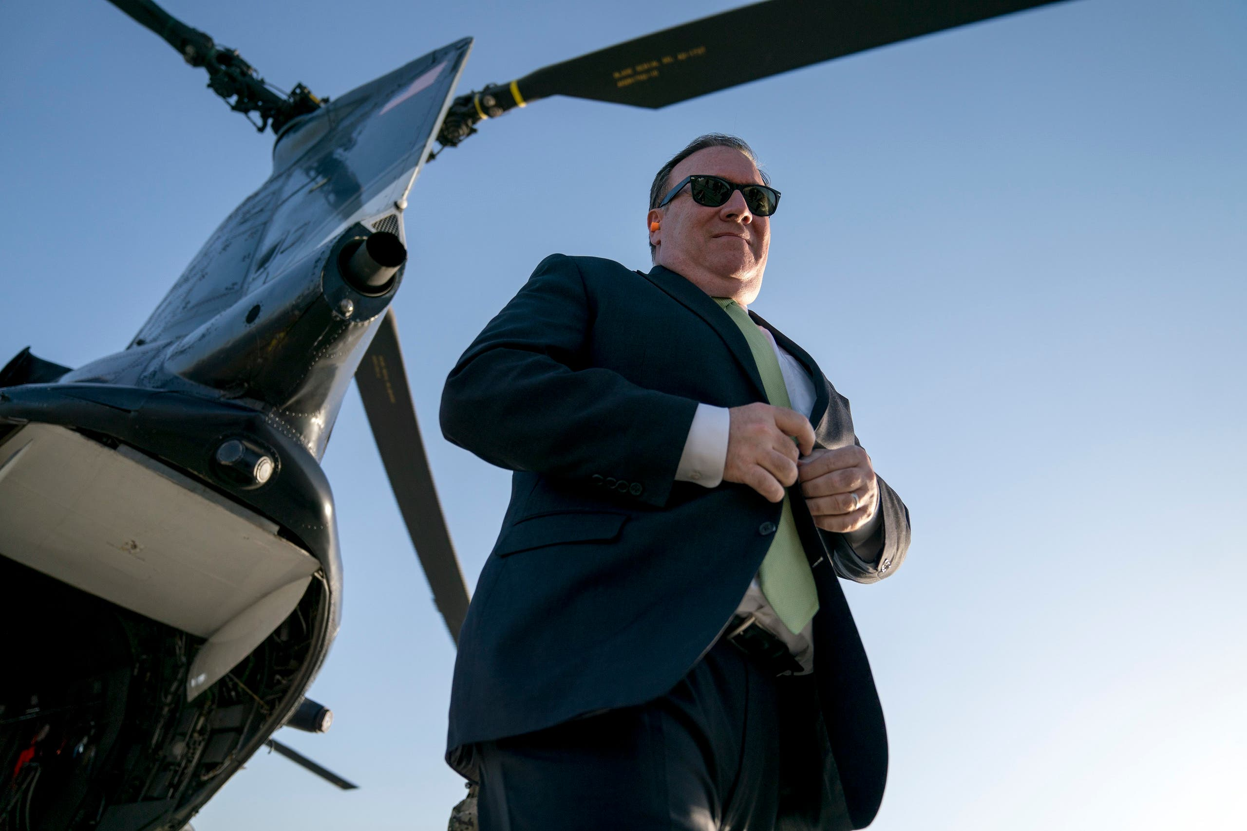 Secretary of State Mike Pompeo arrives at Camp Alvarado in Kabul after meeting with Afghan President Ashraf Ghani on July 9, 2018. (AP)