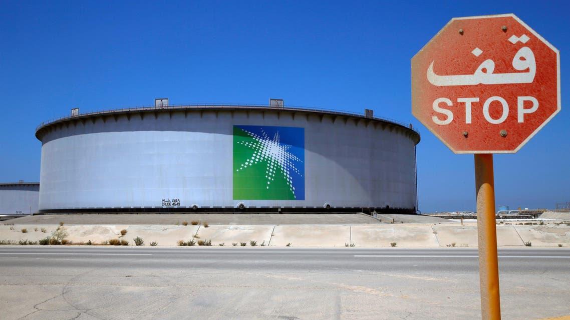 An Aramco tank at Saudi Aramco's Ras Tanura oil refinery and oil terminal in Saudi Arabia on May 21, 2018. (Reuters)