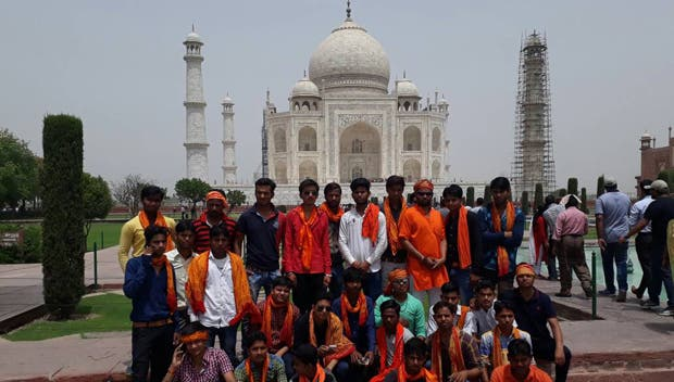 Volunteers of a militant Hindu organization during a recent protest over wearing saffron scarves inside the monument. (Supplied)