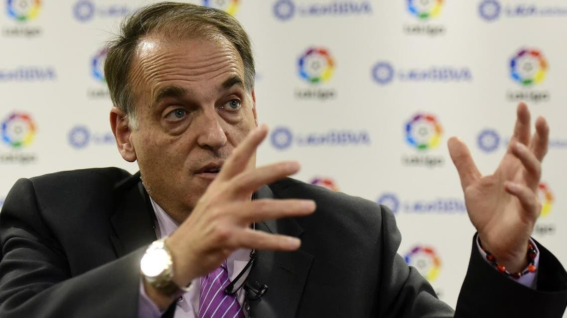 File photo of Spanish League Football President Javier Tebas speaks during an interview. (AFP)