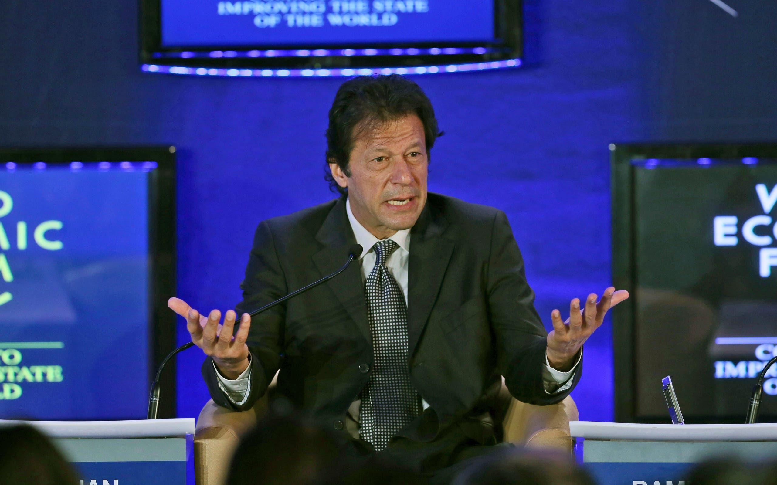 Pakistan Tehreek-e-Insaf Chairman Imran Khan speaks at the World Economic Forum on the outskirts of New Delhi on Jan. 24, 2013. (AP)