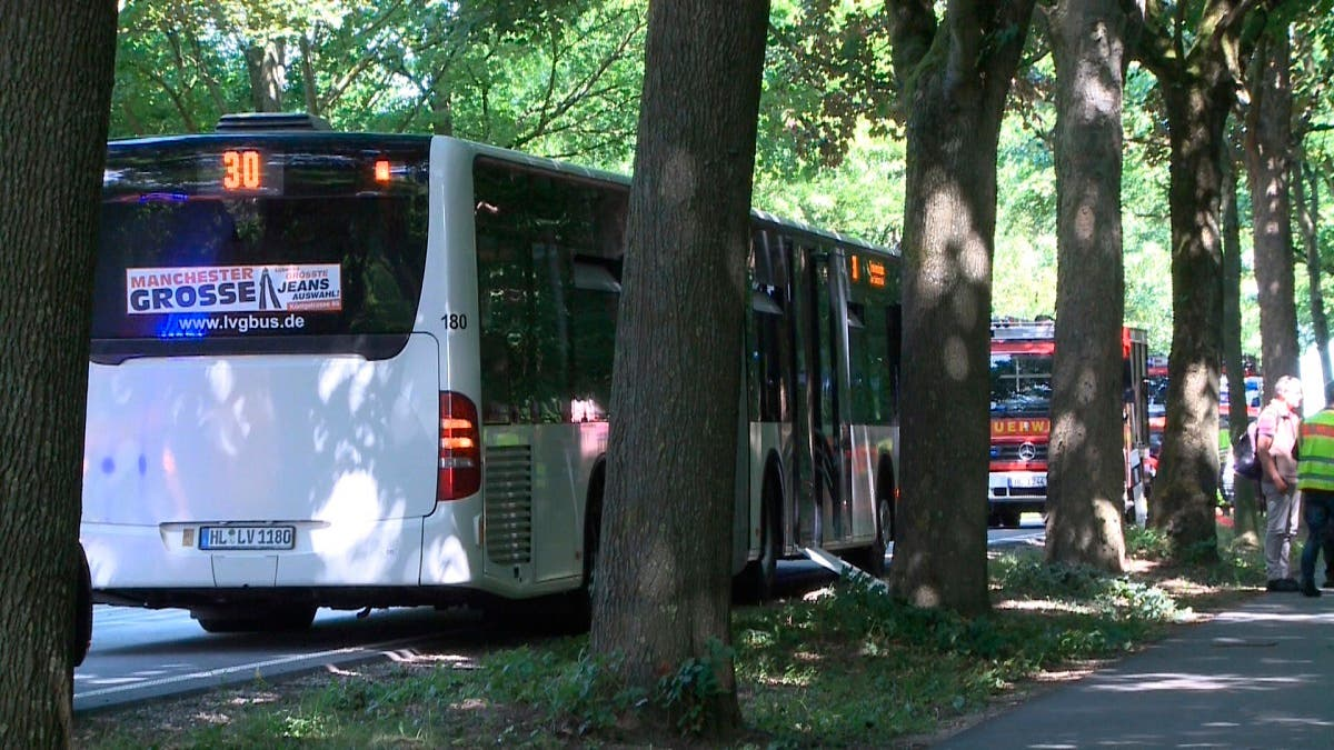 A bus stands on a street in Luebeck, northern Germany, Friday, July 20, 2018 after a man attacked people inside. (AP)