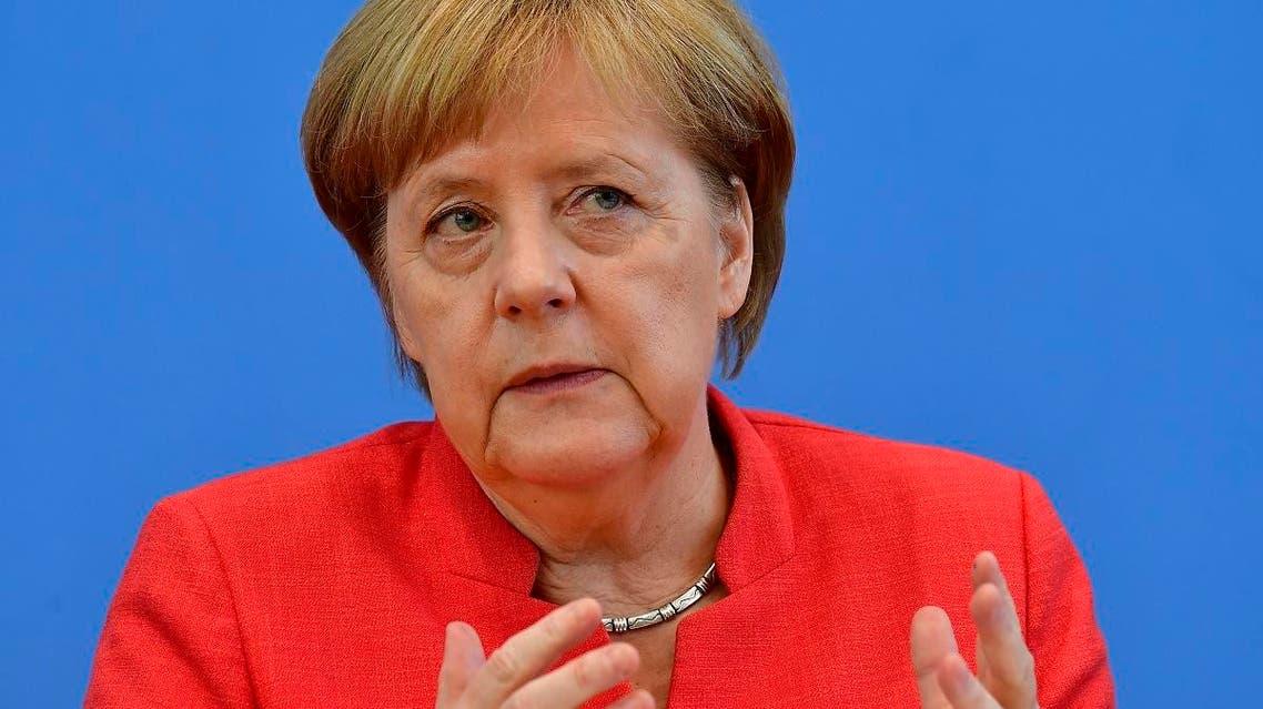 German Chancellor Angela Merkel speaks during her summer press conference in Berlin, on July 20, 2018. (AFP)
