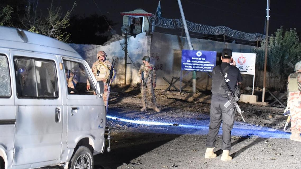 Pakistani security personnel gather at the site following an attack in Quetta. (AFP)