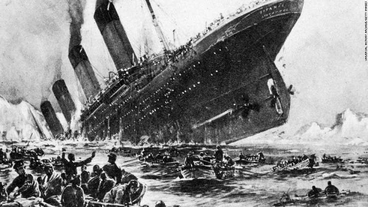 رسم تخيلي لحادثة غرق التيتانيك