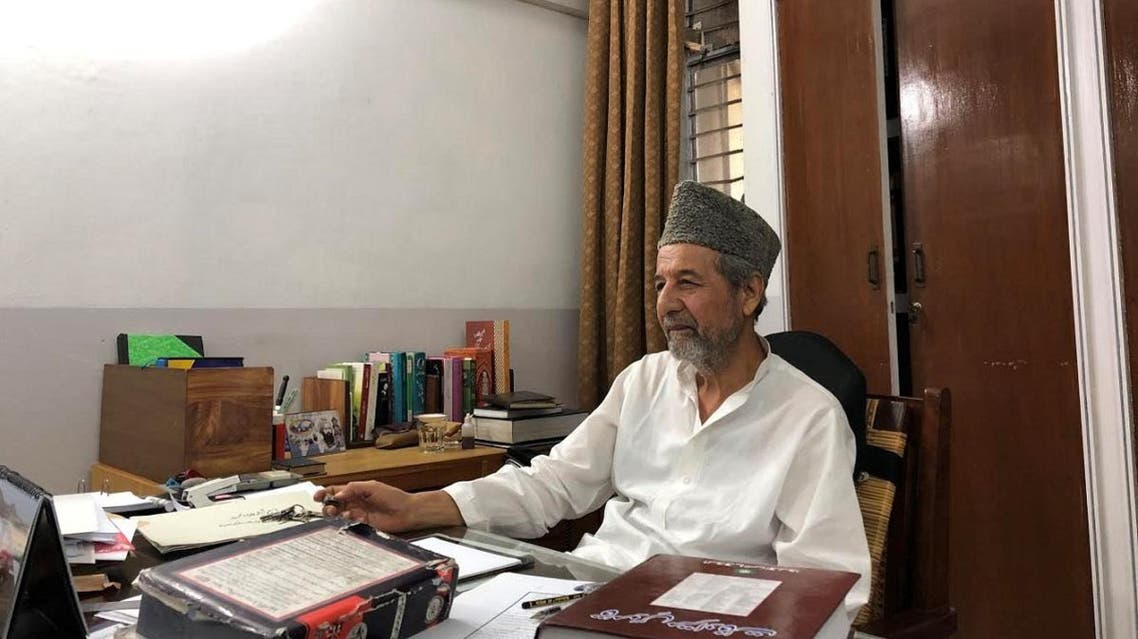 Masood Ahmad Khalid, a member of Ahmadi community, speaks during an interview with Reuters at his office in the town of Rabwah, Pakistan. (Reuters)