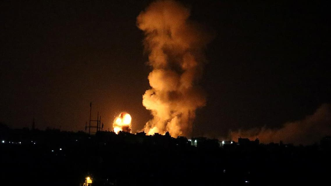 An explosion is seen following an Israeli air strike in the southern Gaza Strip on July 20, 2018. (Reuters)