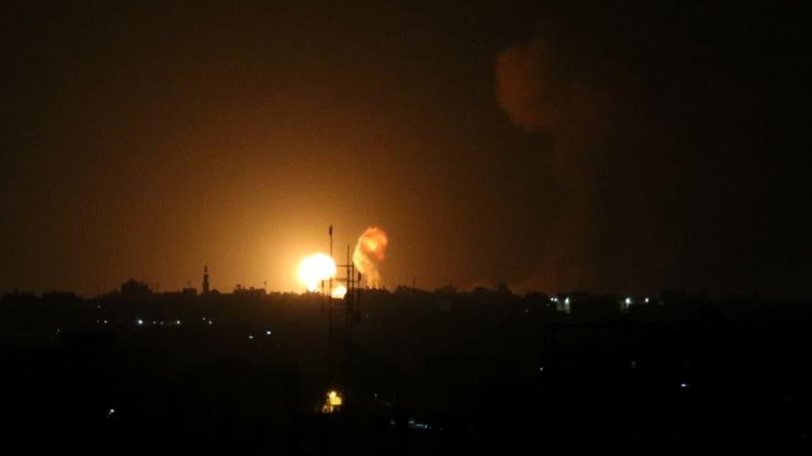 انفجار عقب غارة جوية إسرائيلية جنوب قطاع غزة الجمعة
