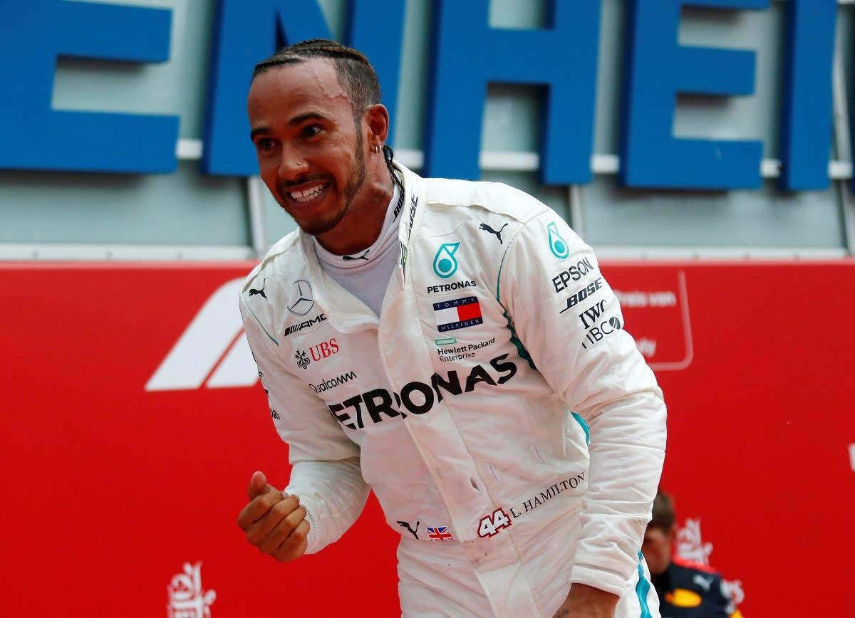Mercedes' Lewis Hamilton celebrates after winning the race German Grand Prix  in Hockenheimring, Hockenheim, on July 22, 2018. (Reuters)