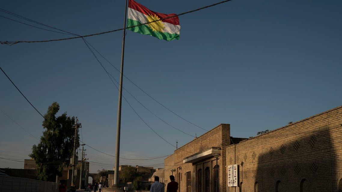 Kurdish flag erbil iraq. (AP)