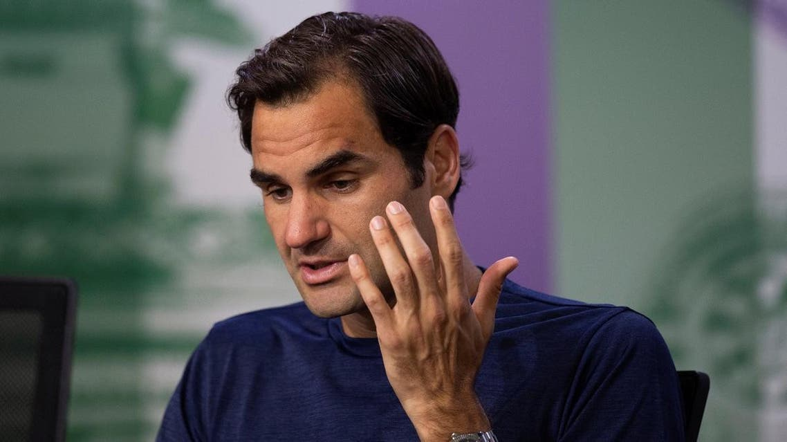 Switzerland's Roger Federer attends a press conference after loosing his quarter final match against South Africa's Kevin Anderson. (Reuters)