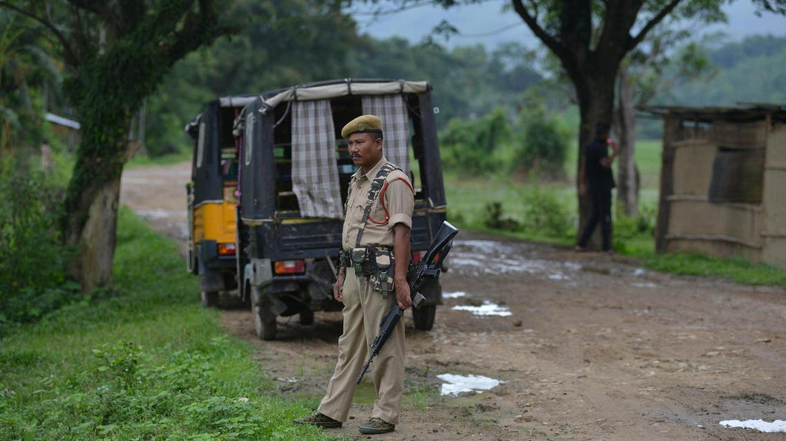 Indian security personnel near the site of lynching of two men in a village in Assam state on July 10, 2018. (File photo: AFP)
