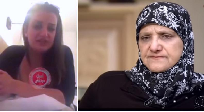 والدتها كما ظهرت في المقابلة، وهي كما ظهرت في فيديو شتائمها