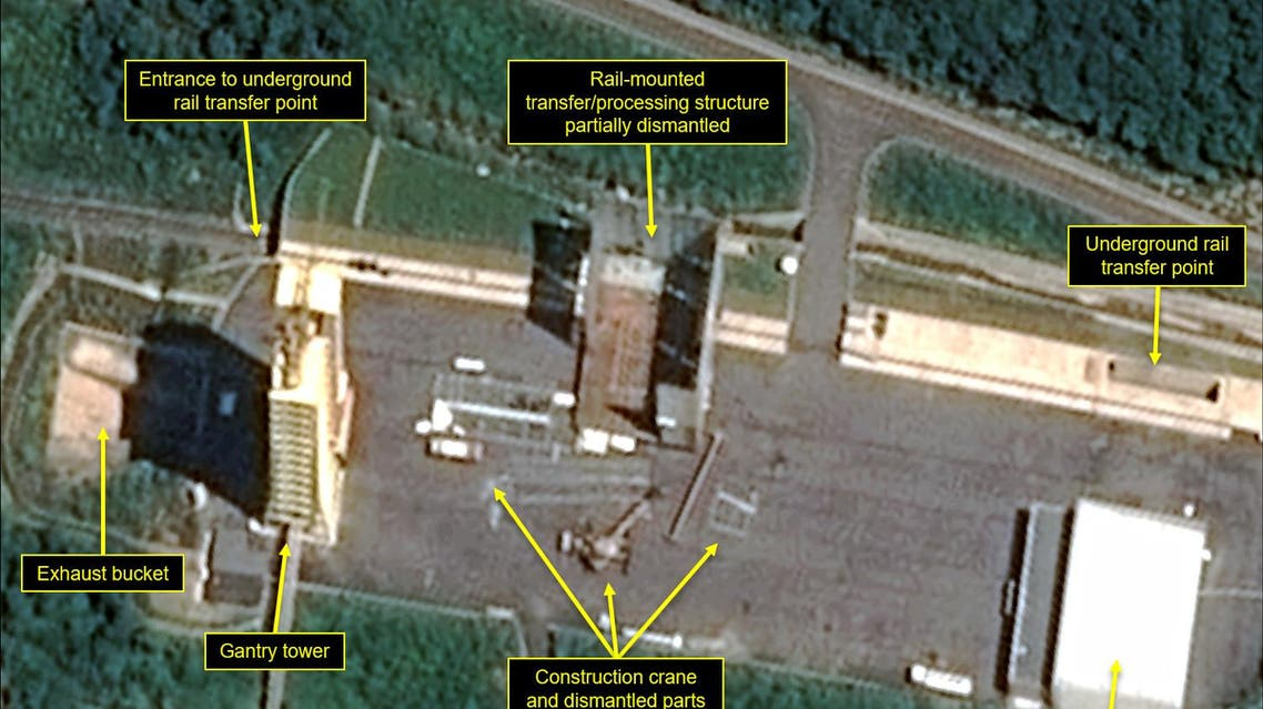 Satellite image courtesy Airbus Defense and Space and 38 North dated July 22, 2018 and obtained July 23, 2018 shows the apparent dismantling of facilities at the Sohae satellite launching station, North Korea. North Korea appears to have started dismantling key facilities at a rocket-engine test center, a group of experts said, potentially marking a significant step after last month's summit between Kim Jong Un and President Donald Trump.