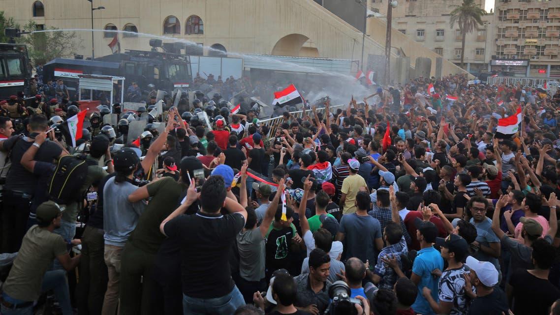 من الاحتجاجات في ساحة التحرير ببغداد يوم 20 يوليو