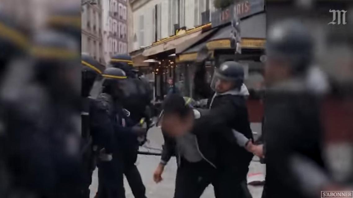 Macron aide violence. (Screen grab)