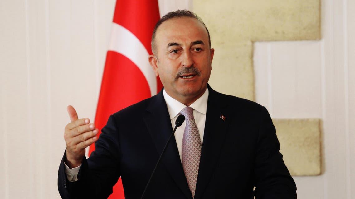 وزير الخارجية التركي مولود تشاووش أوغلو خلال مؤتمر صحافي في قبرص الثلاثاء
