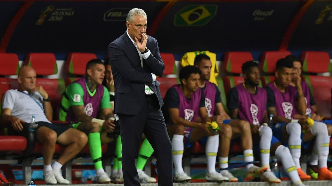 Brazil's coach Tite looks on during the World Cup quarter-final match between against Belgium in Kazan on July 6, 2018. (AFP