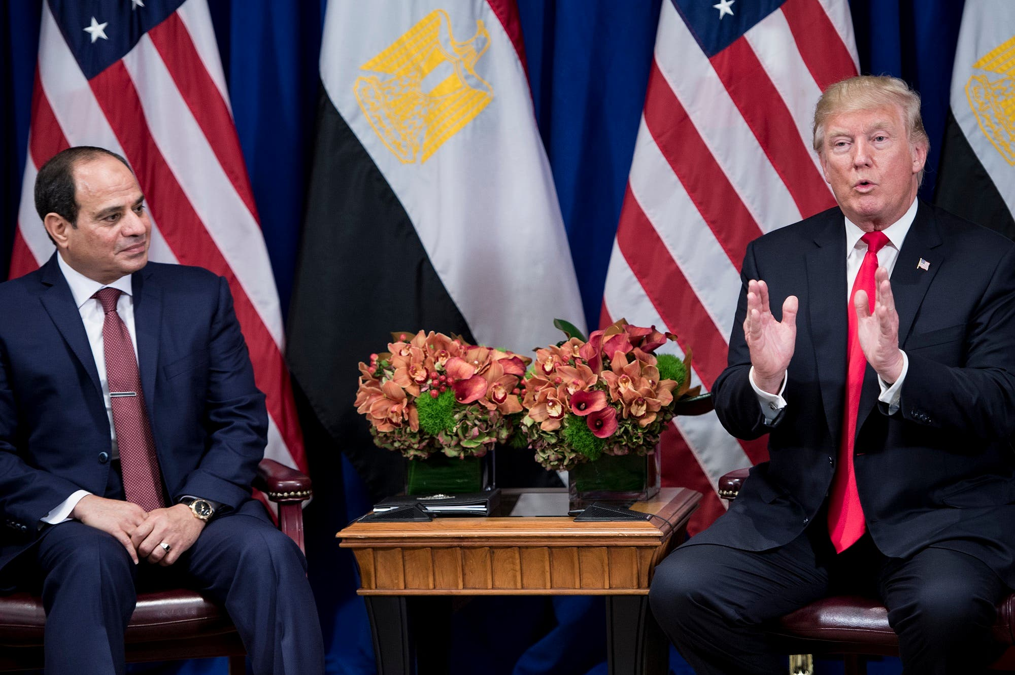 Egypt's President Abdel Fattah el-Sisi with President Trump during the 72nd United Nations General Assembly on September 20, 2017 in New York City. (AFP)