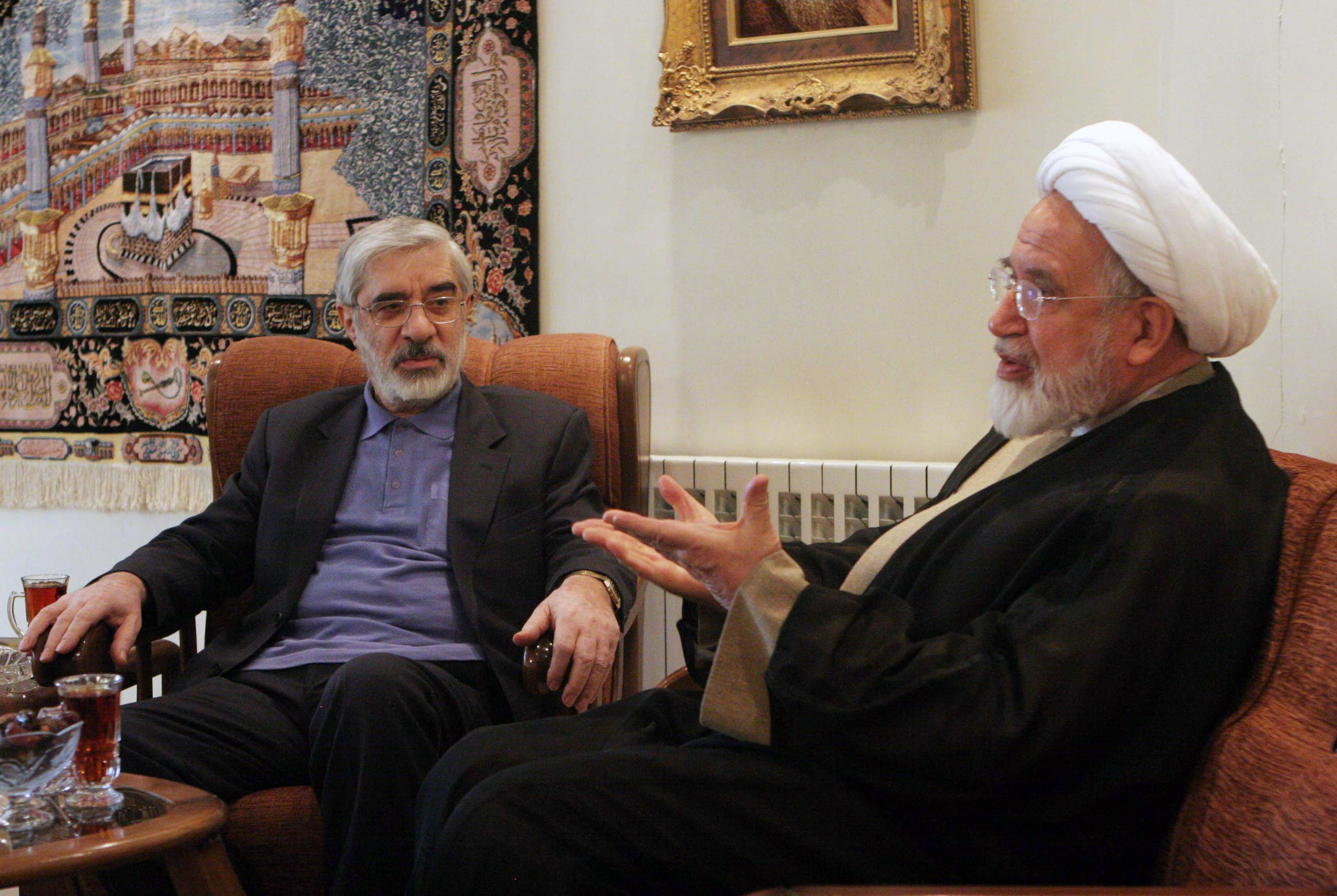 Iran protest leaders Mousavi and Karroubi. (AP)