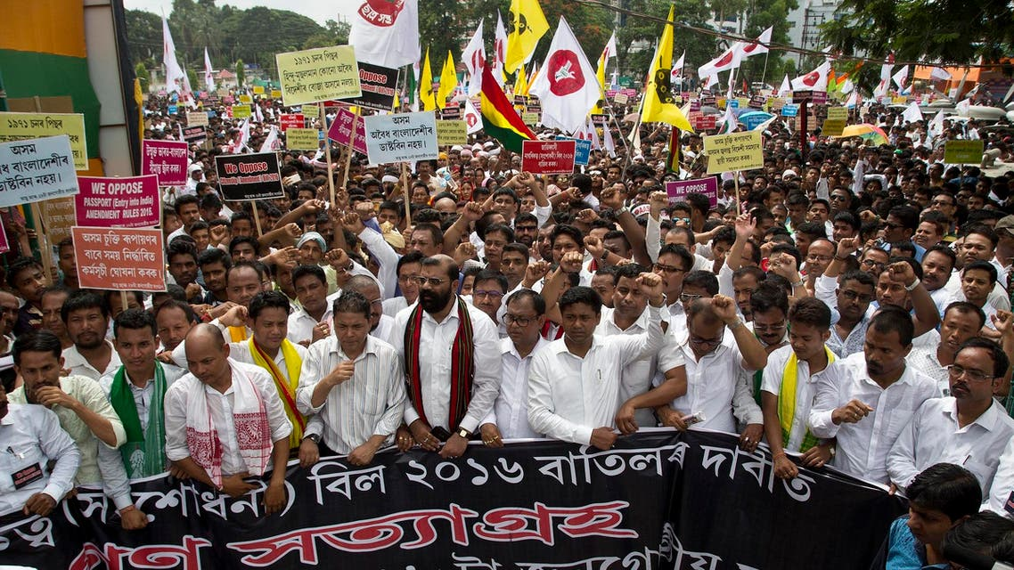 Activists of All Assam Students' Union (AASU), along with 28 other organizations walk during a protest rally against India's Citizenship Amendment Bill 2016 in Gauhati, northeastern Assam state, India, Friday, June 29, 2018. (AP)