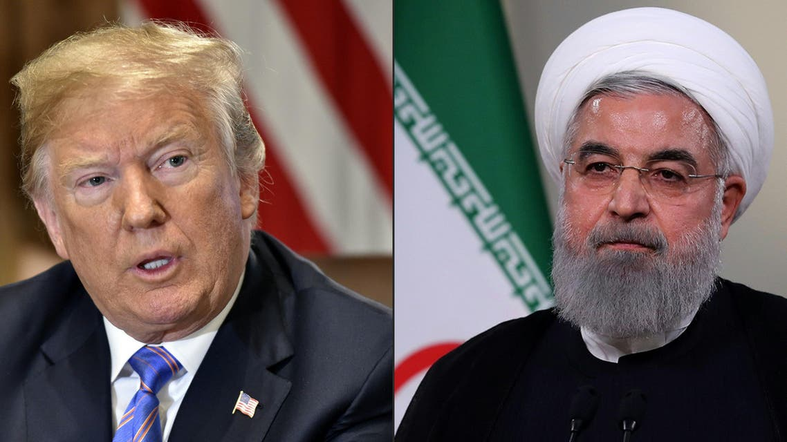 This combination of pictures created on July 23, 2018 shows US President Donald Trump speaks during a cabinet meeting on July 18, 2018, at the White House in Washington, DC. AND In this file photo taken on May 2 2018, a handout picture provided by the Iranian presidency on shows President Hassan Rouhani giving a speech on Iranian TV in Tehran. US President Donald Trump has launched a