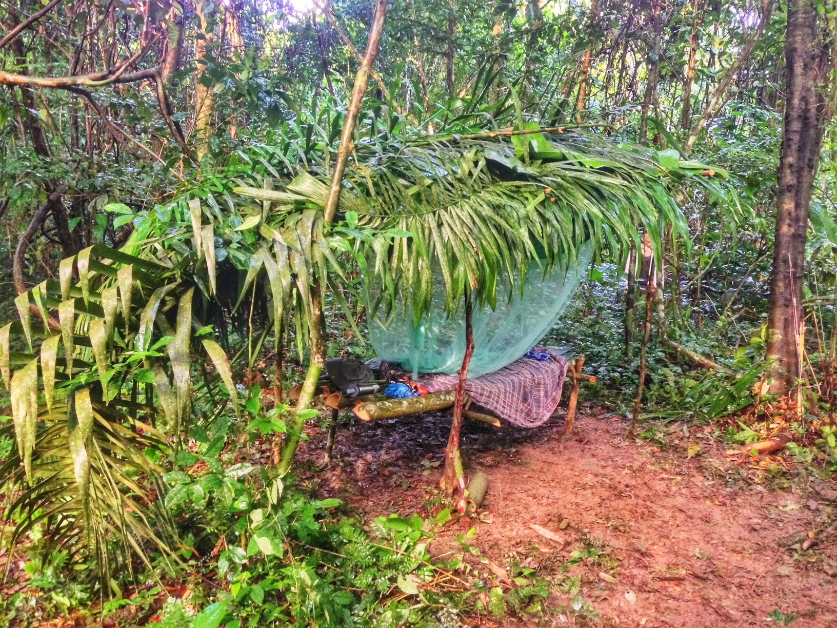 A shelter Abdullah sat up in to sleep in the Amazon Jungle. (Supplied)
