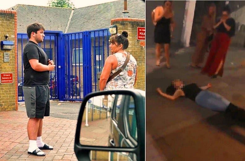 الفتاة فاقدة الوعي من أثر اللكمتين، والأم مع ابنها أمام المخفر