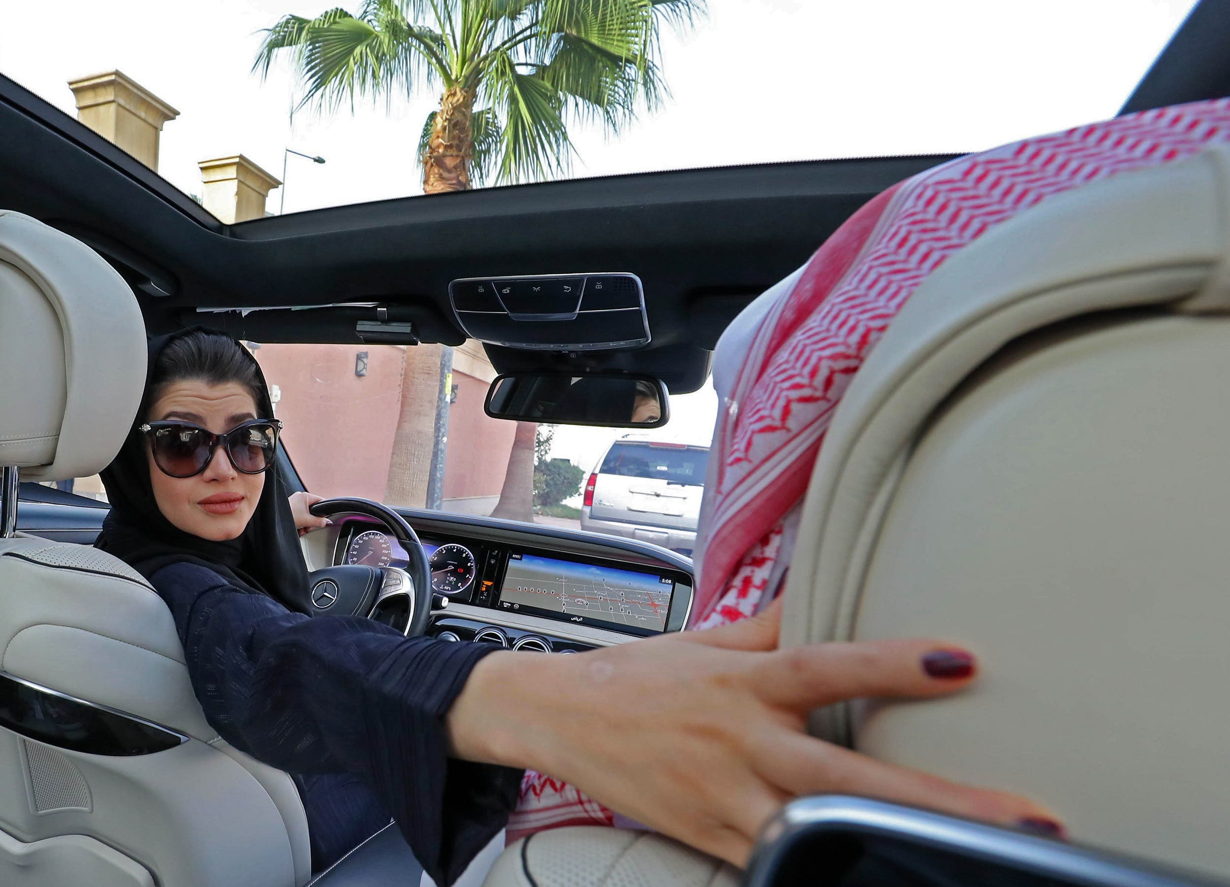 A Saudi woman practices driving in Riyadh, on April 29, 2018. (AFP)