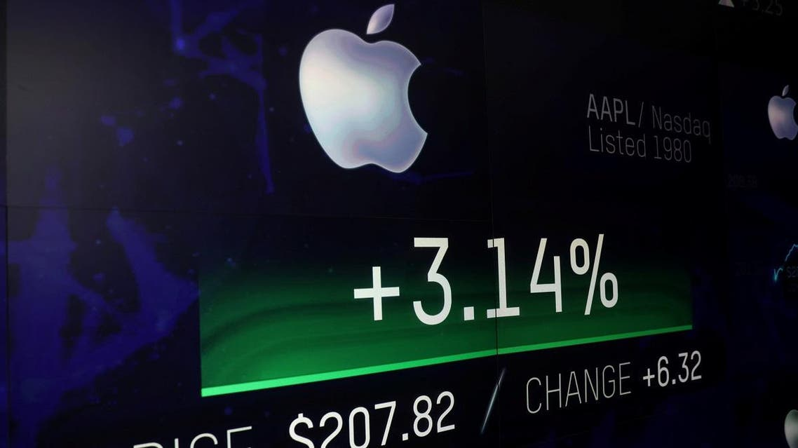 An electronic screen displays the Apple Inc. stock price at the Nasdaq Market Site in New York City, New York, US, on August 2, 2018. (Reuters)
