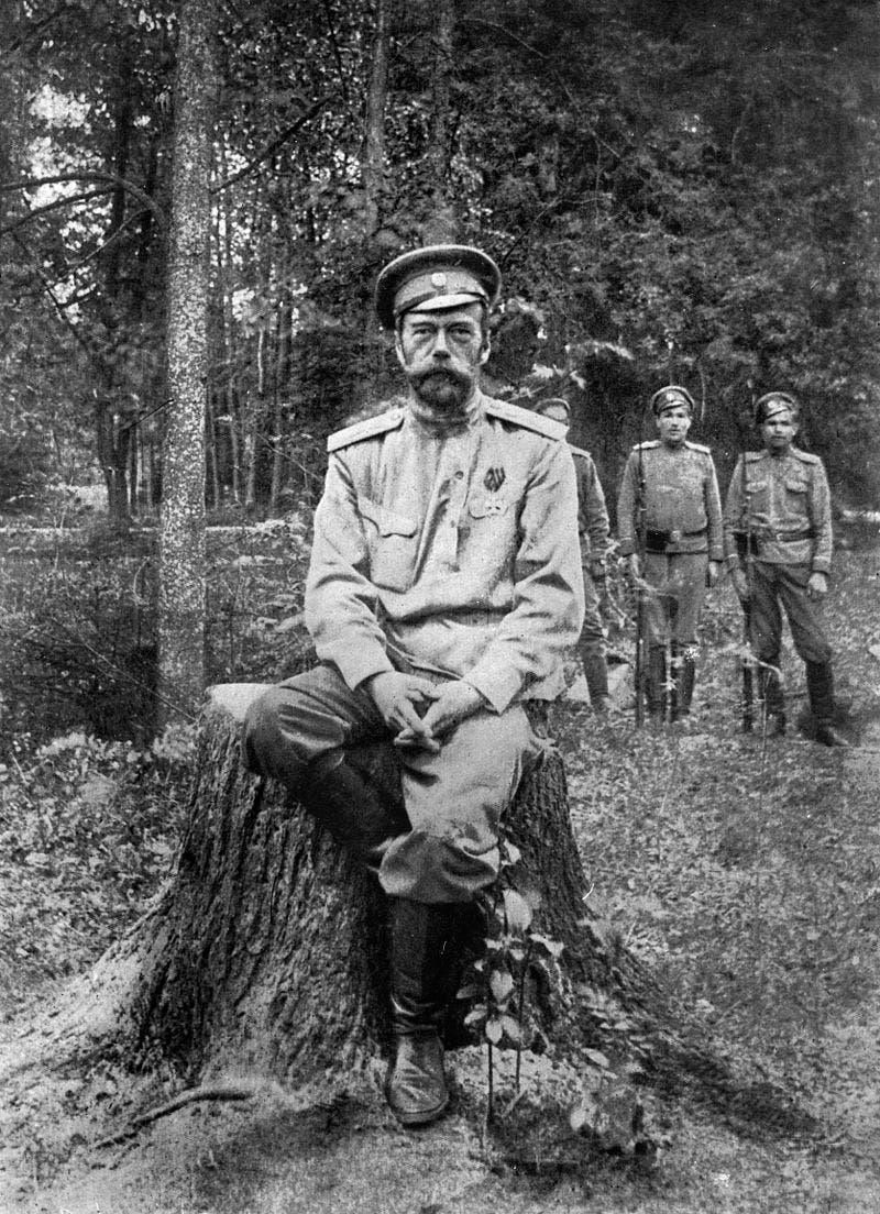 صورة للقيصر الروسي نيقولا الثاني بالمنفى عقب تنازله عن العرش