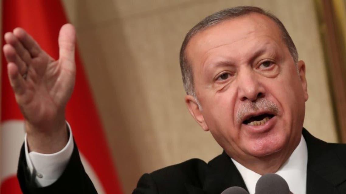 الرئيس التركي يلقي كلمة في القصر الرئاسي بأنقرة يوم 15 يوليو