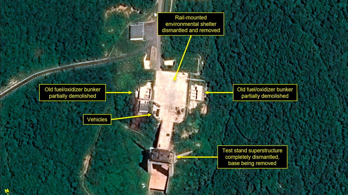 This July 22, 2018, satellite image released and annotated by 38 North on Monday, July 23, 2018, shows what the U.S. research group says is the dismantled engine test stand at the Sohae launch site in North Korea. (AP)