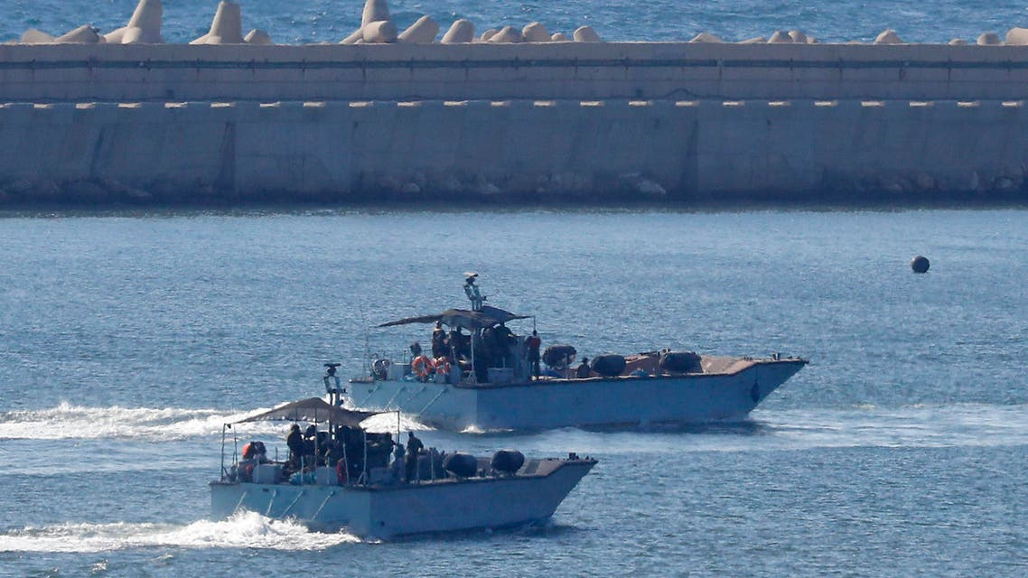 Israeli navy ships. (AFP)