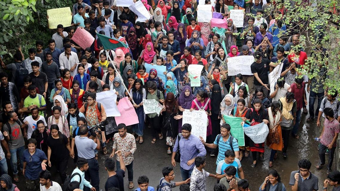 Thousands of students join in a protest over recent traffic accidents that killed a boy and a girl, in Dhaka, on August 5, 2018. (Reuters)