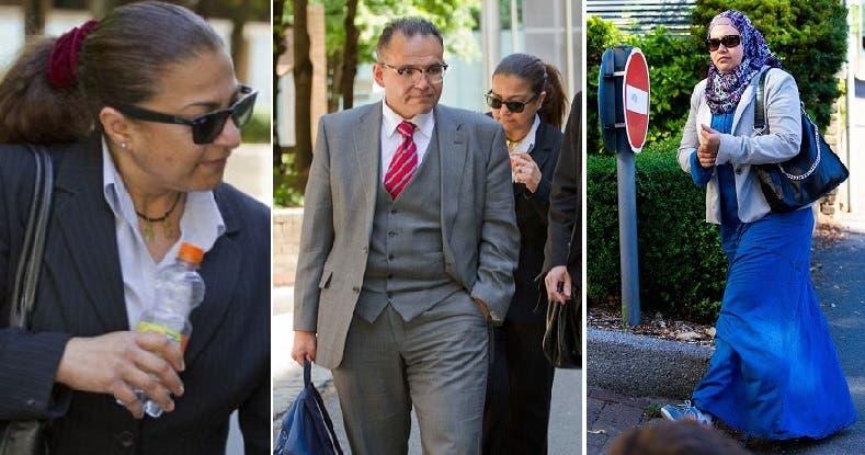 المربية السابقة أسماء، خارجة من المحكمة أمس، وصورتان للطبيبين الزوجين وهما خارجها أيضا