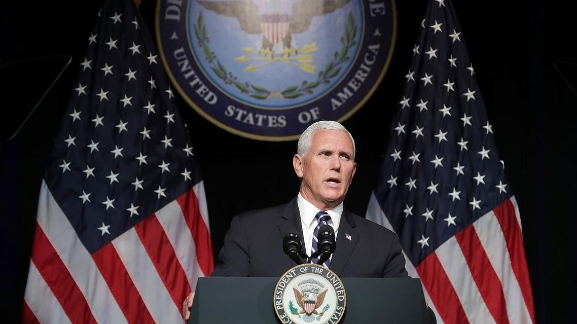 US Vice President Mike Pence announces the Trump Administration's plan to create the US Space Force by 2020 during a speech at the Pentagon August 9, 2018 in Arlington, Virginia. (AFP)