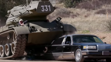 WATCH: Arnold Schwarzenegger crush limousine with his own 'Tank'