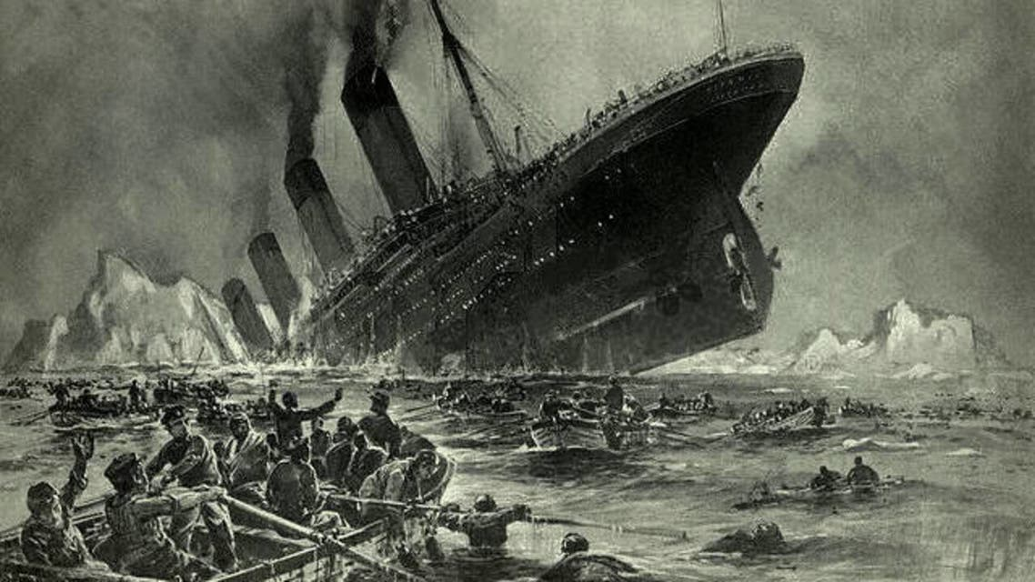 رسم تخيلي لحادثة غرق سفينة التيتانيك