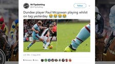 WATCH: Dundee's Paul McGowan plays wearing electronic tag