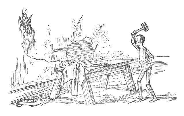 رسم تخيلي لبينوكيو وهو بصدد قتل الصرار بالمطرقة في القصة الحقيقية