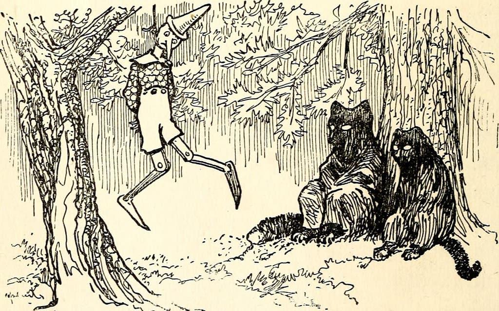 رسم تخيلي لحادثة شنق بينوكيو في القصة الأصلية