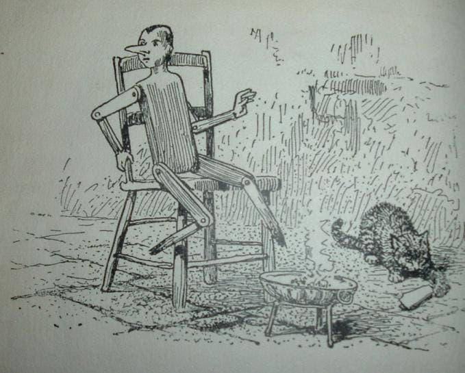 رسم تخيلي لحادثة لإحتراق رجلي بينوكيو في القصة الحقيقية