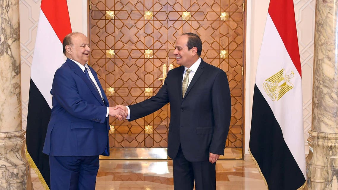 Abdrabbuh Mansur Hadi and Abdelfattah el-Sisi. (AP)a