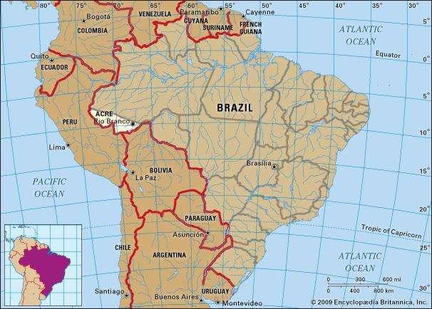 خريطة توضح مكان إقليم أكري بجنوب القارة الأميركية