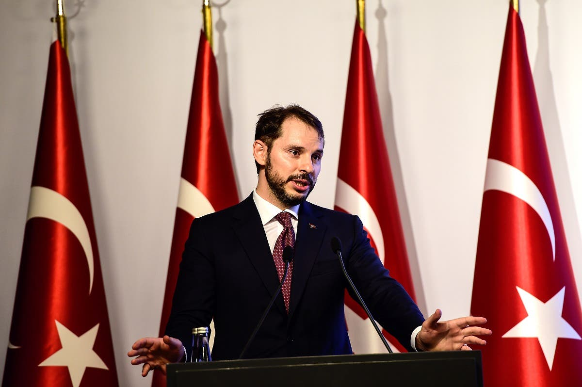 Turkish Treasury and Finance Minister Berat Albayrak speaks during a presentation to announce his economic policy in Istanbul, on August 10, 2018. (AFP)