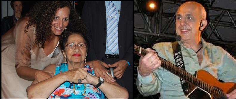 ريكاردو المطرب والموسيقار، وأخته جنديرا مع والدتها، زوجة أنطوان فغالي