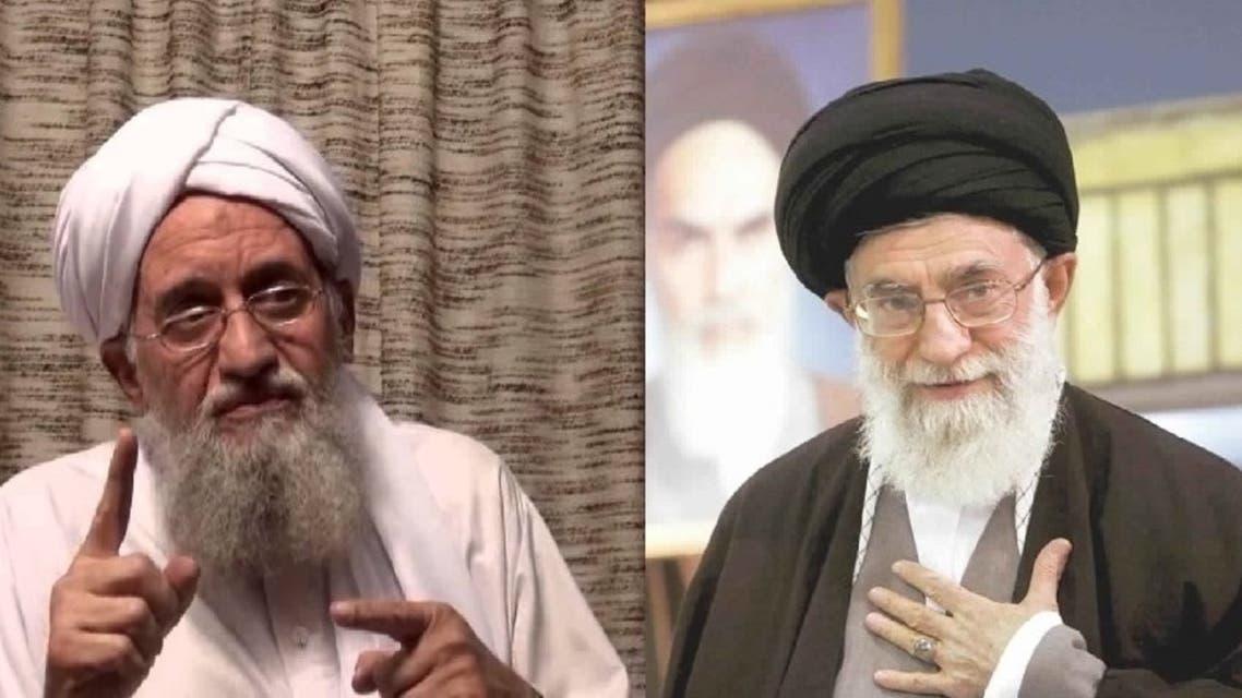 علي-خامنئي-المرشد-الأعلى-للثورة-الإسلامية-في-إيران-و-أيمن-الظواهري-زعيم-تنظيم-القاعدة